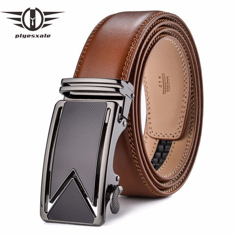 Image of Plyesxale Cowhide Genuine Leather Belts For Men Luxury Automatic Buckle Belts Brown Black