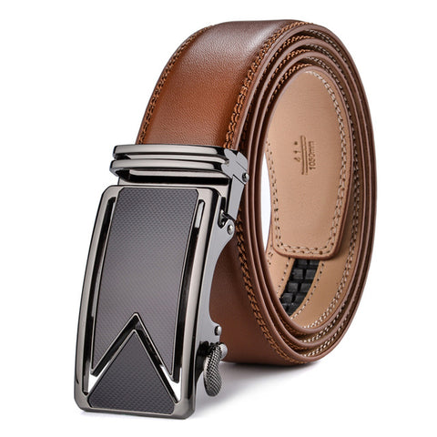 Plyesxale Cowhide Genuine Leather Belts For Men Luxury Automatic Buckle Belts Brown Black