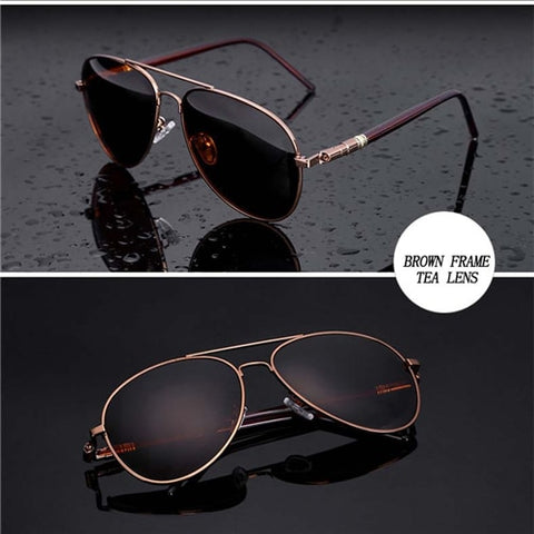 Image of Aviation Metail Frame Quality Oversized Spring Leg Alloy Men Sunglasses Polarized Brand Design Pilot Male Sun Glasses Driving
