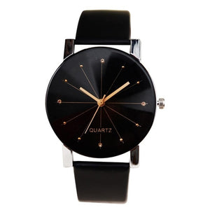 Elegant Quartz Wristwatches Leather Women Watches Simple Men's Analog Clocks