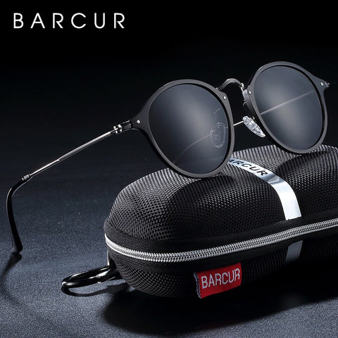 BARCUR Aluminum Vintage Round Sunglasses Men Retro Glasses