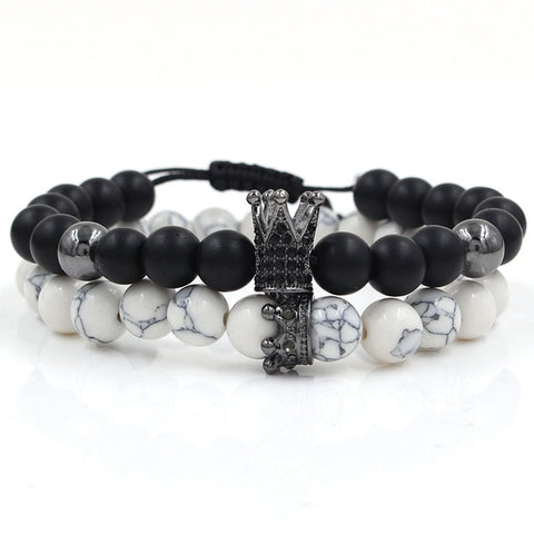 CZ Crown Charms Stone Beads Men Couple Bracelets Jewelry For Women 2Pcs/Set Bangles Sets