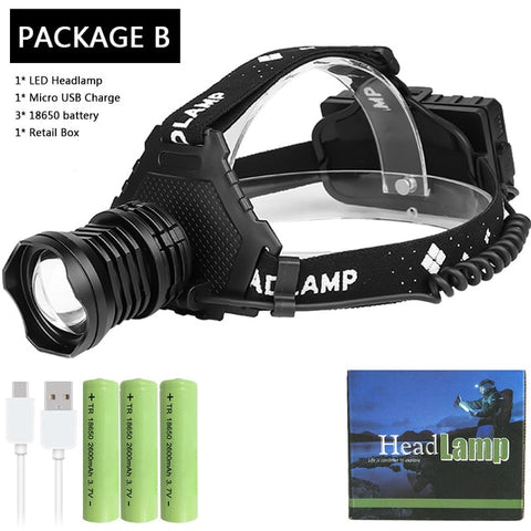 Image of Most Powerful XHP90.2 Led Headlamp 8000LM Head lamp USB Rechargeable Headlight Waterproof Zooma Fishing Light Use 18650 Battery