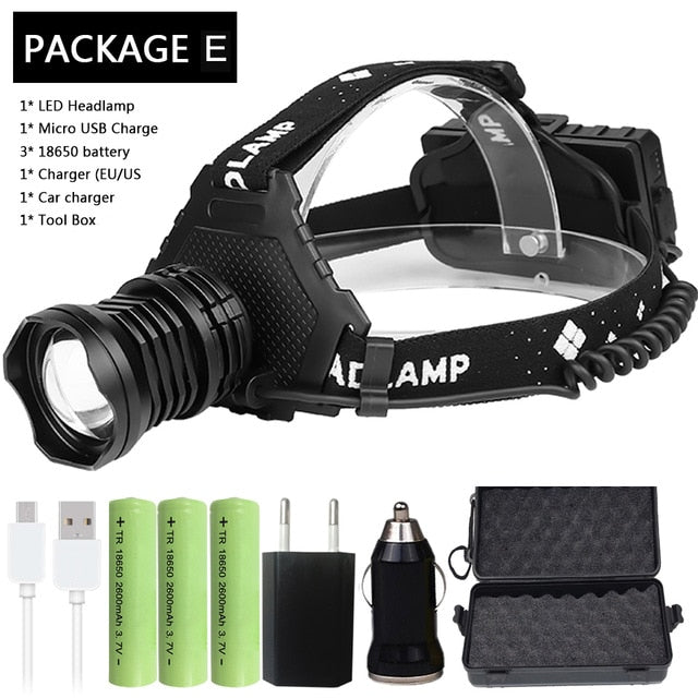 Most Powerful XHP90.2 Led Headlamp 8000LM Head lamp USB Rechargeable Headlight Waterproof Zooma Fishing Light Use 18650 Battery