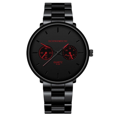 Image of Luxury Quartz Men Watches Blue Pointer Casual Fashion Stainless Steel Strap Clock Gift Business WristWatch