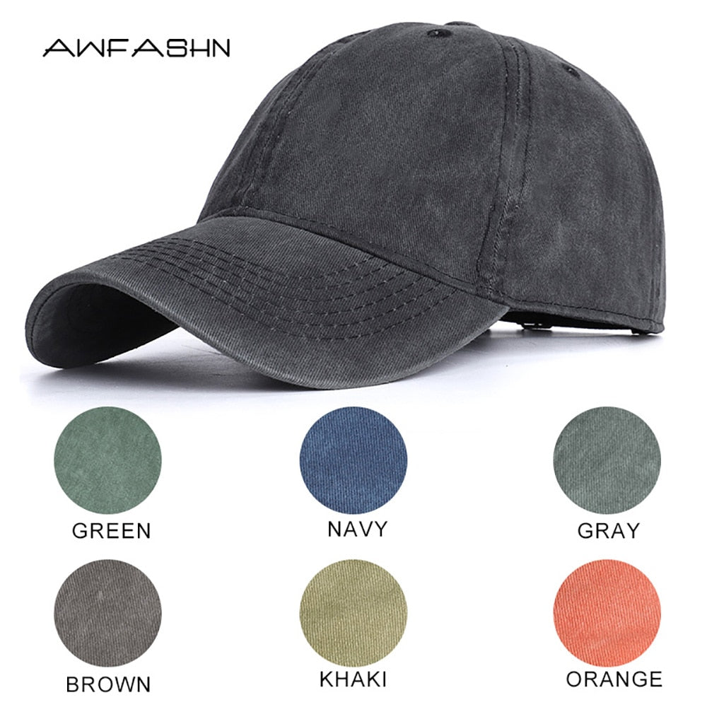 High Quality Men Washed Cotton Baseball Cap Women Vintage Snapback Hat Adjustable Trucker Outdoor Caps Dad Hat