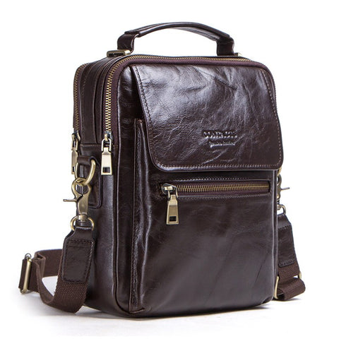 "Genuine leather messenger bag for men casual shoulder bags male flap bag luxury brand crossbody bag fits 9.7"" Ipad"