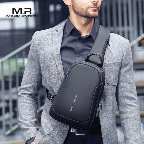 Image of Mark Ryden Multifunction Crossbody Men Bags Waterproof USB Charging Chest Pack Short Trip Messengers Chest Bag Shoulder Bag Male