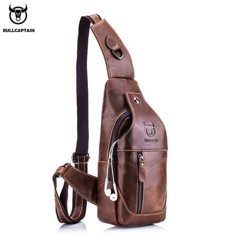 Image of Fashion Genuine Leather Crossbody Bags men casual messenger bag Small Designer Male Shoulder Bag Chest Pack