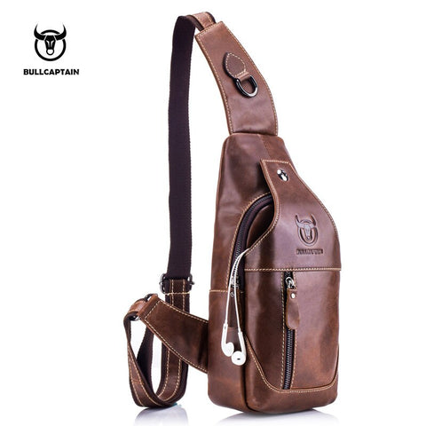 Fashion Genuine Leather Crossbody Bags men casual messenger bag Small Designer Male Shoulder Bag Chest Pack