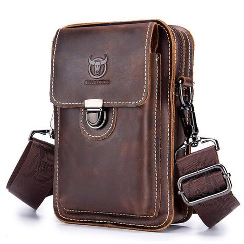 Image of Crazy horse leather Male Waist Packs Phone Pouch Bags Waist Bag Men's Small chest Shoulder Belt Bag small back pack