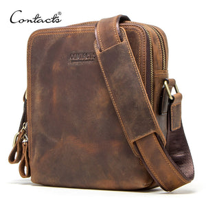 "Genuine leather men's messenger bag vintage shoulder bags for 7.9"" Ipad mini high quality male crossbody bag"