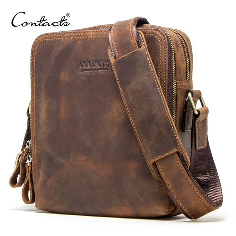 "Image of Genuine leather men's messenger bag vintage shoulder bags for 7.9"" Ipad mini high quality male crossbody bag"