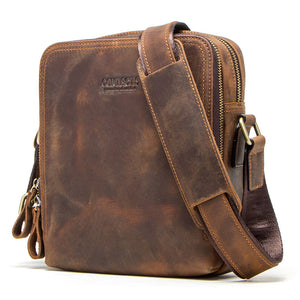 Genuine leather men's messenger bag vintage shoulder bags for 7.9