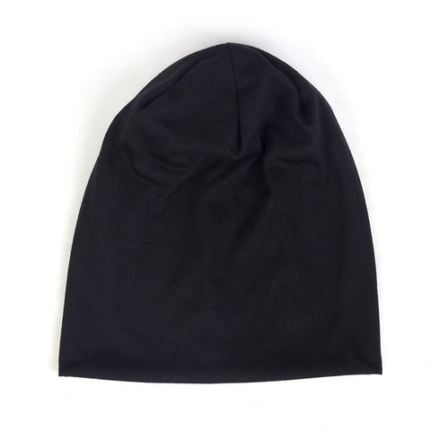 Image of Spring Women Men Unisex Solid Color Slouchy Beanie For Women Fashion Man Cotton Caps Turban Skullies Beanies Female Hats Elastic