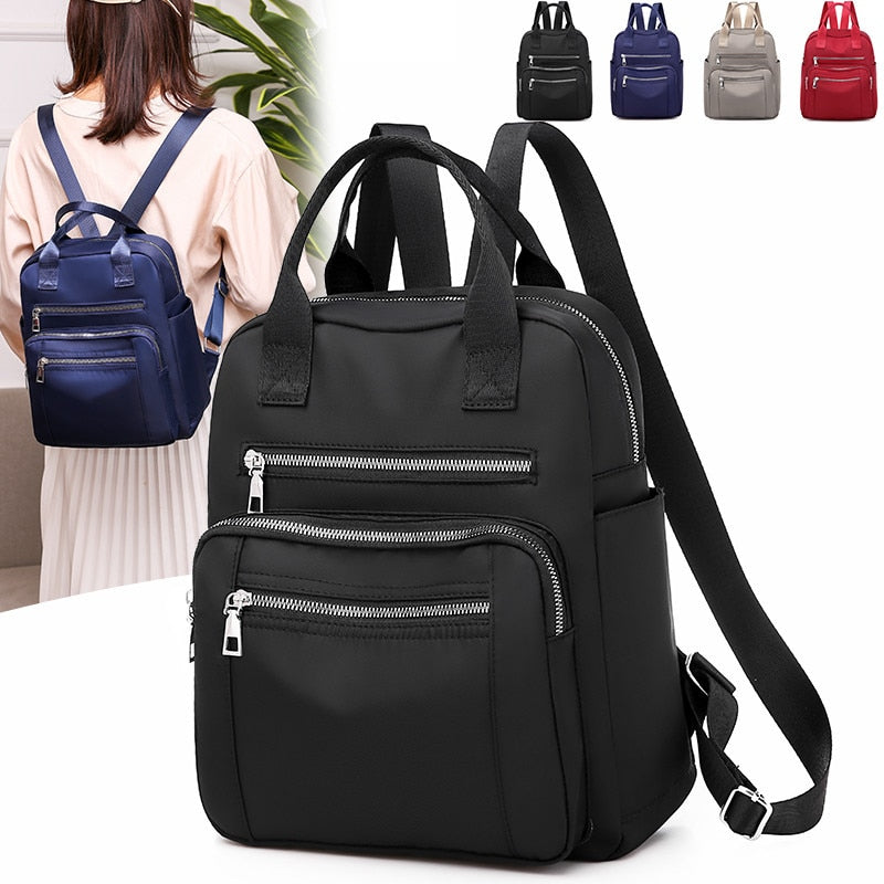 Vento Marea Women Backpack Travel Casual Waterproof Women's Shoulder Bags Female Large Capacity Oxford Rucksack Black Purse