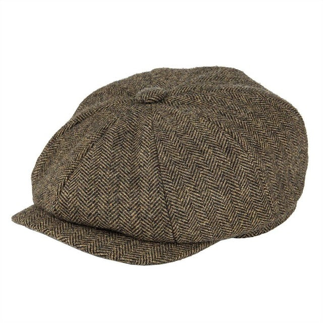 Wool Tweed Newsboy Cap Herringbone Men Women Gatsby Retro Hat Driver Flat Cap Black Brown Green Navy Blue