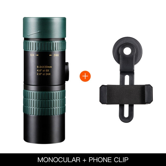 8-24x30 Zoom Monocular Telescope for Smartphone High Quality Powerful Foldable BAK4 Retractable Hunting Optics Handheld Portable