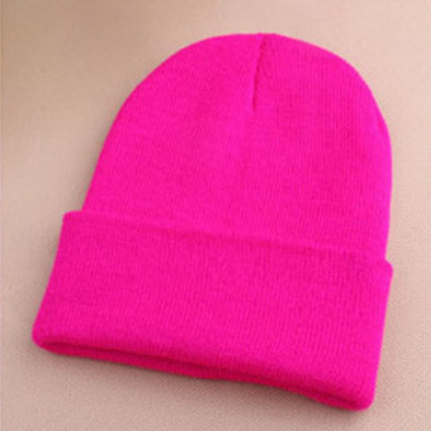 Image of Fashion 19 Colors Knitted Neon Women Beanie Girls Autumn Casual Elastic Cap Women's Warm Winter Hats Unisex