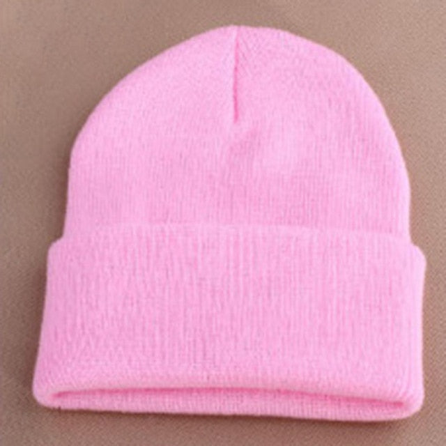 Fashion 19 Colors Knitted Neon Women Beanie Girls Autumn Casual Elastic Cap Women's Warm Winter Hats Unisex