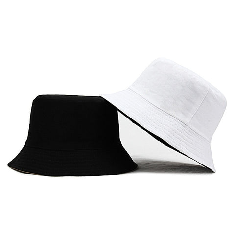 Image of Unisex Sun Hats Women Summer Double Side Bucket Hat Men Pure Color Panama Fedoras Outdoor Fisherman Hat Visor Basin Cap