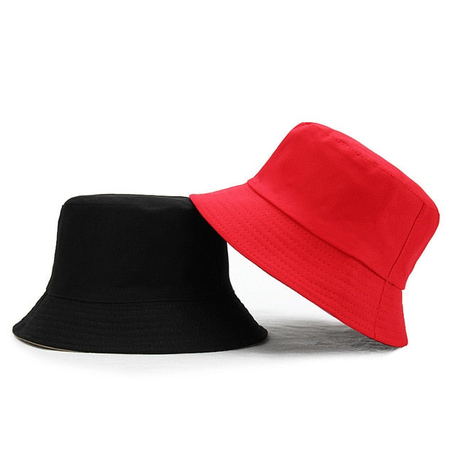 Unisex Sun Hats Women Summer Double Side Bucket Hat Men Pure Color Panama Fedoras Outdoor Fisherman Hat Visor Basin Cap