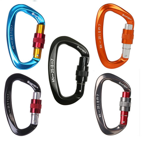 Image of 25KN Mountaineering Caving Rock Climbing Carabiner D Shaped Safety Master Screw Lock Buckle Escalade Equipment