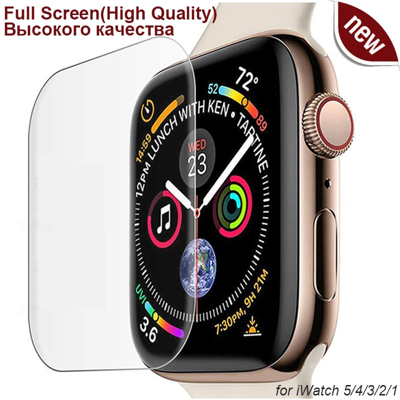 3D Full Curved Soft Tempered PET for Apple Watch Series 5 4 Ultra-thin Screen Protector for iWatch 38 40 42 44mm, Not Glass