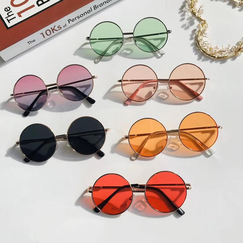 Image of 1pc Vintage Candy Color Simple Children Round Girls ANTI-UV Sunglasses Boys Girls Kids Retro Cute Sun Glasses Eyewear UV400