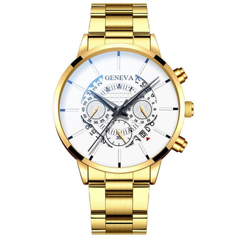 Image of Fashion Men Stainless Steel Luxury Watch Calendar Quartz Watches Professional Casual Men's Watch