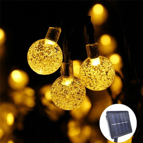 5M 7M 10M Solar Lamp Crystal Ball LED String Lights Flash Waterproof Fairy  For Outdoor Garden Christmas Wedding Decoration