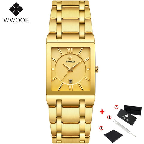 Image of Gold Watch Men Square Watches Top Brand Luxury Golden Quartz Stainless Steel Waterproof Wrist Watch