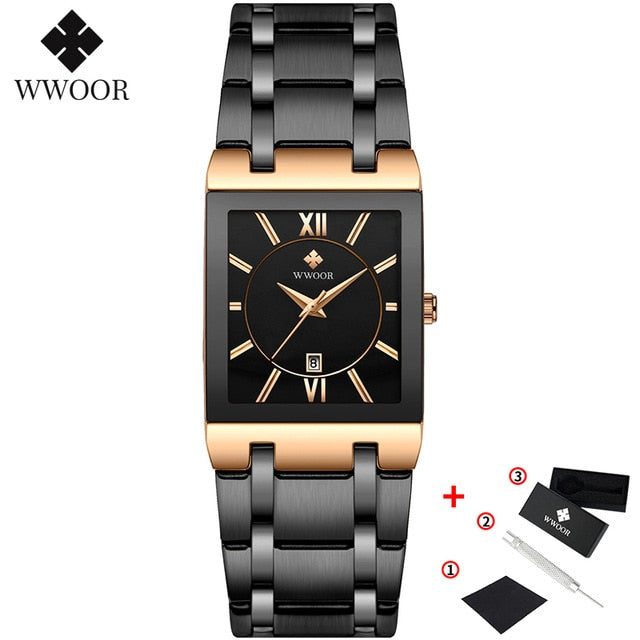 Gold Watch Men Square Watches Top Brand Luxury Golden Quartz Stainless Steel Waterproof Wrist Watch
