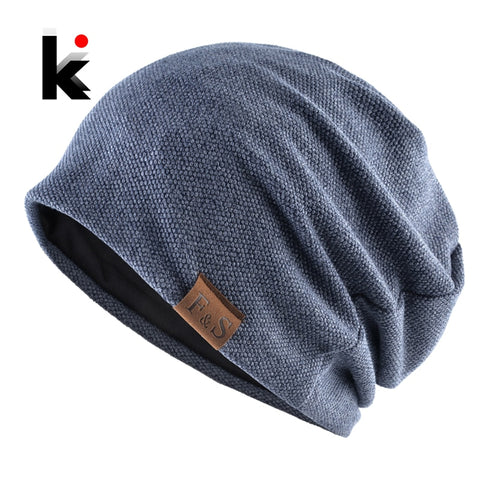 Image of Fashion Bonnet Hat For Men And Women Autumn Knitted Solid Color Skullies Beanies Spring Casual Soft Turban Hats Hip Hop Beanie