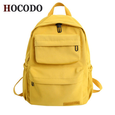Image of Solid Color Backpack For Women Waterproof Nylon Multi Pocket Travel Backpacks Large Capacity School Bag For Teenagers