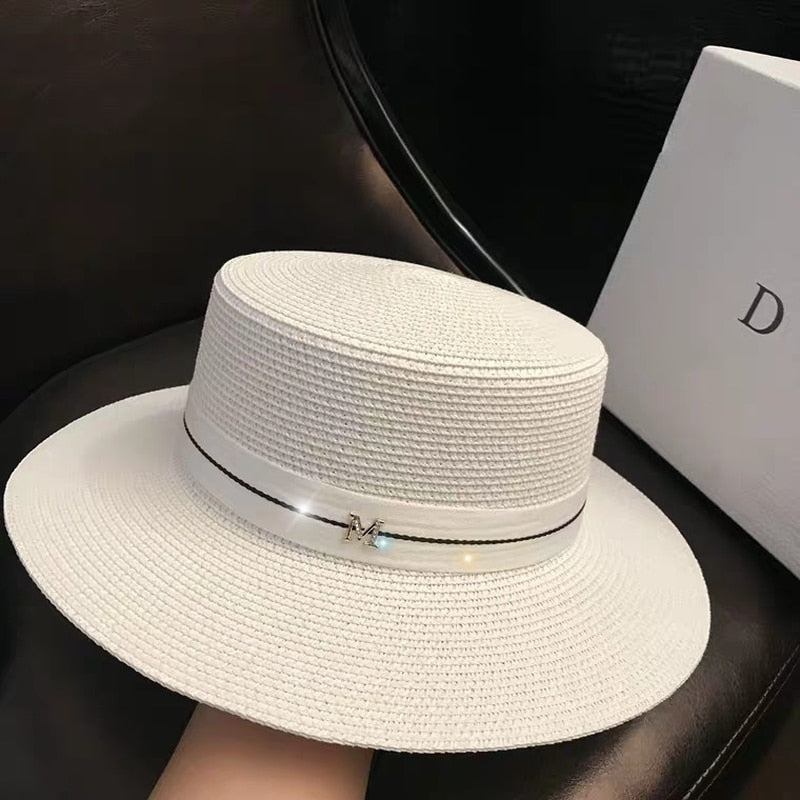 Women Sun Hat Female Summer M Letter Straw Hat Summer Visor Caps Ladies Sun Beach Hats