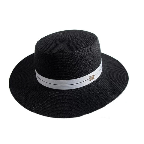 Image of Women Sun Hat Female Summer M Letter Straw Hat Summer Visor Caps Ladies Sun Beach Hats