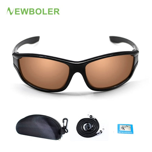 Polarized Fishing Sunglasses Brown Yellow Lenses Night Version Men Glasses Outdoor Sport Driving Cycling Eyewear UV400