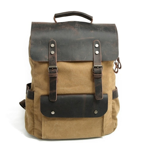 Image of Multifunction Fashion Men Backpack Vintage Canvas Backpack Leather School Bag Neutral Portable Wearproof Travel Bag