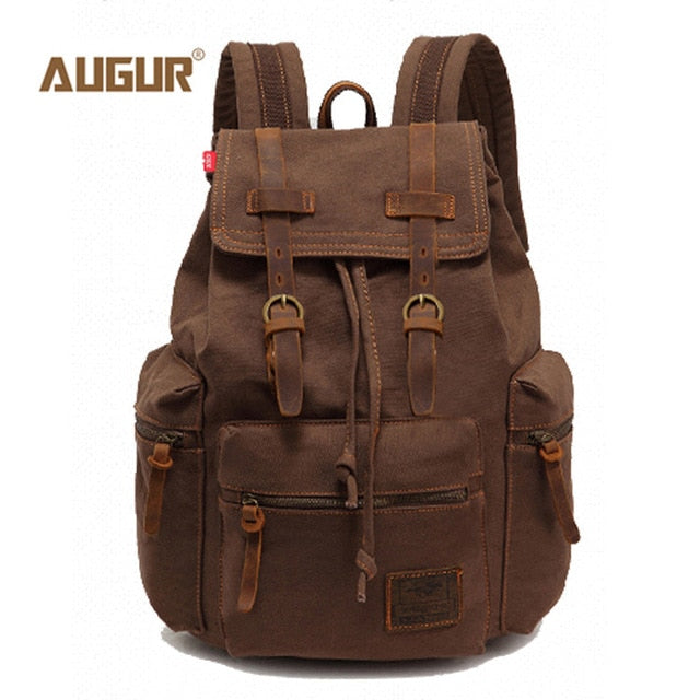 Augur fashion men's backpack vintage canvas backpack school bag men's travel bags large capacity travel laptop backpack bag