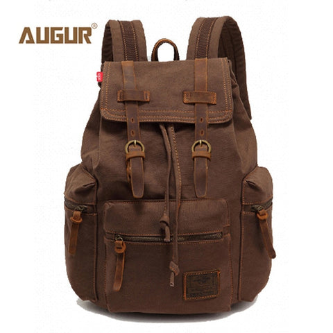 Image of Augur fashion men's backpack vintage canvas backpack school bag men's travel bags large capacity travel laptop backpack bag