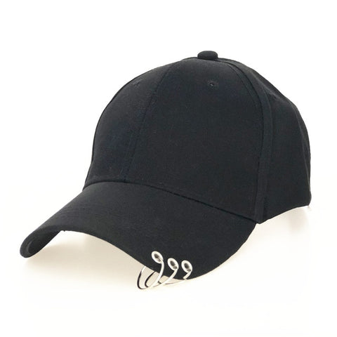 Image of High Quality Adjustable Baseball Hat with Ring Outdoor Sports Sun Cap for Women Men Fashion Snapback Hat