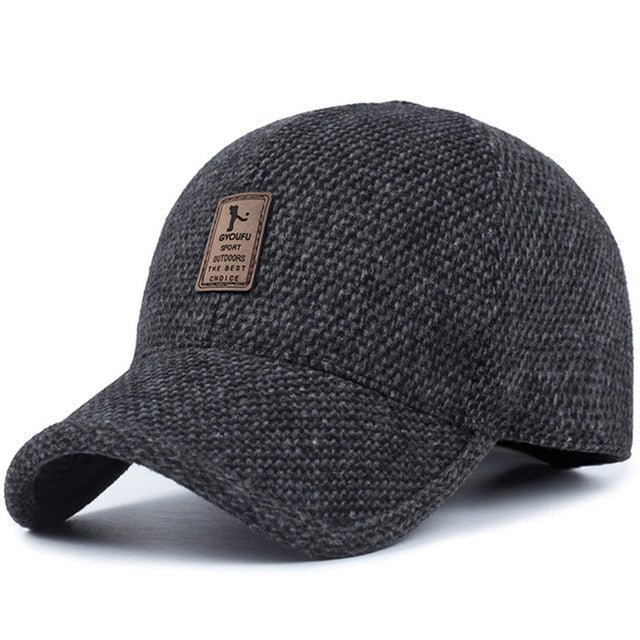 Baseball cap winter dad hat warm Thickened cotton snapback caps Ear protection fitted hats for men