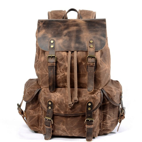 Image of M229 Multifunction Casual Canvas Backpacks Vintage Waterproof Large Capacity Travel Bag Women Leather Laptop Rucksack