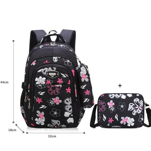 Image of Floral Girls Backpack School Bags For Girls 3 Piece Bag Set Children's Backpack