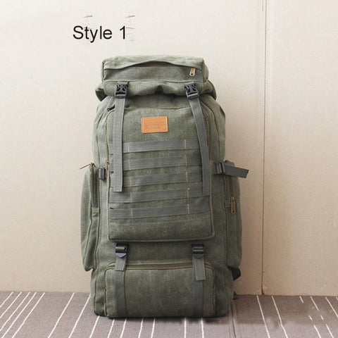 Image of 60L Large Military Bag Canvas Backpack Tactical Bags Camping Hiking Rucksack Army Tactical Travel Molle Men Outdoor Bag