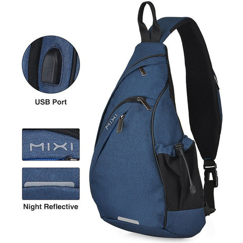 Image of Mixi Men Sling Backpack One Shoulder Bag Boys Student School Bag University Work Travel Versatile Fashion Design