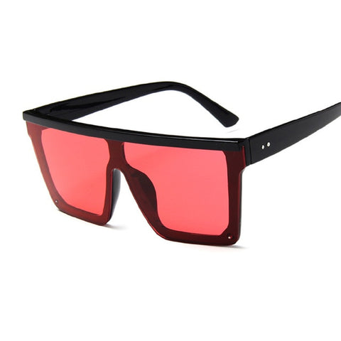 Image of Black Square Sunglasses Women Big Frame Fashion Retro Mirror Sun Glasses Female Brand Vintage Style