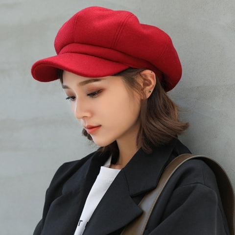 Image of Winter Hats for Women Solid Plain Octagonal Newsboy Cap Men Ladies Casual Wool Hat Winter Beret Women Painter Cap