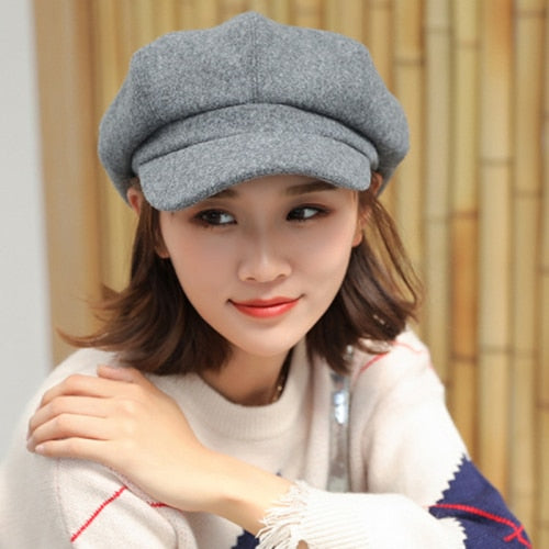 Winter Hats for Women Solid Plain Octagonal Newsboy Cap Men Ladies Casual Wool Hat Winter Beret Women Painter Cap